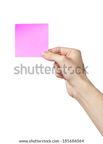 adult man hand showing sticky note, isolated on white