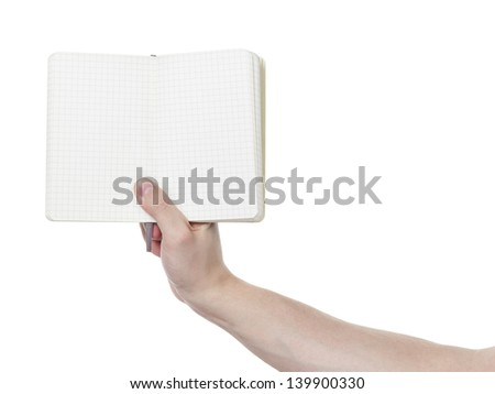 adult man hand shows open notebook, isolated
