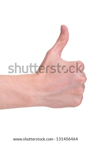 adult man hand thumb up, isolated on white background - stock photo