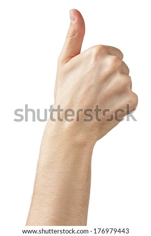 adult man hand thumb up side view, isolated on white