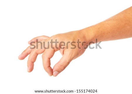 adult man hand to hold something isolated on white