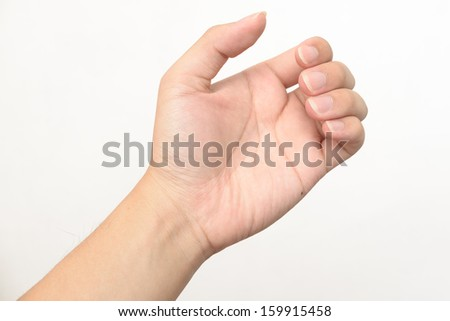 Adult man hand to hold something like phone, isolated on white