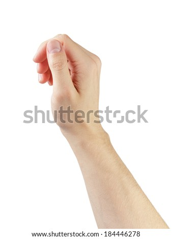 adult man hand to hold something like phone or tablet pc, isolated ...: http://www.shutterstock.com/s/thumb+of+hand/search.html