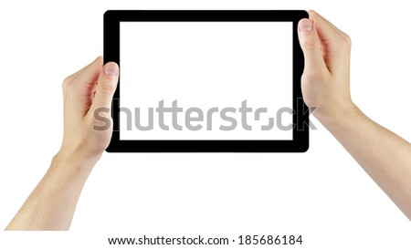adult man hands holding generic tablet pc with white screen, isolated on white
