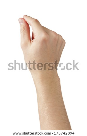 adult man hands measure or holding something, isolated on white - stock photo