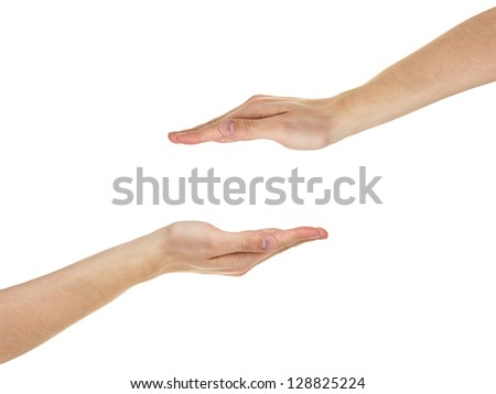 adult man hands shows protection concept, isolated on white - stock photo