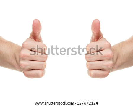 adult man hands shows thumbs up, isolated on white - stock photo