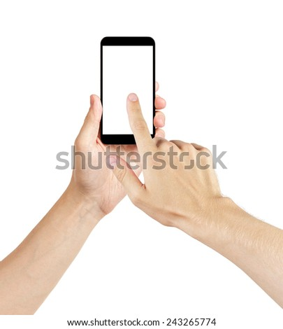 adult man hands using generic mobile phone with white screen, isolated - stock photo