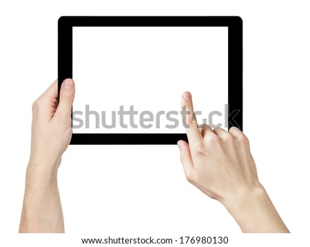 adult man hands using generic tablet pc with white screen, isolated on white - stock photo