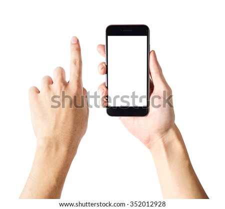 adult man hands using mobile phone with white screen, isolated white background - stock photo