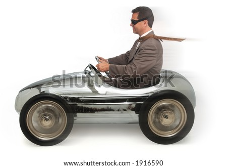 adult man in child's pedal car on white background - stock photo
