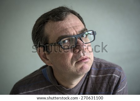 Adult man in glasses - stock photo