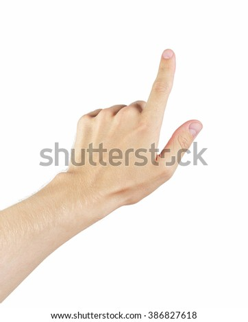 adult man left hand touch gesture, isolated on white background