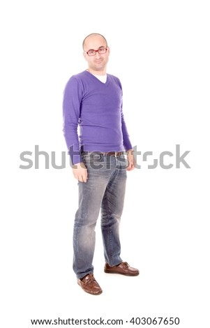 adult man posing isolated in white