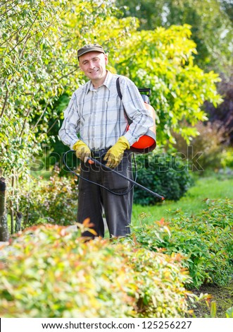 adult man sprinkles green bush in the garden