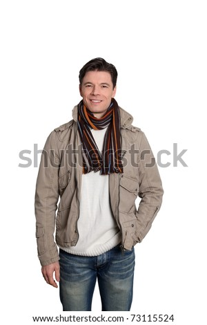 Adult man with winter clothes standing on white background - stock photo