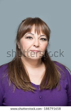 Adult middle age woman half body portrait - stock photo