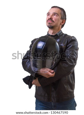 Adult motorcyclist in brown leather jacket. Studio waist portrait. Isolated on white - stock photo