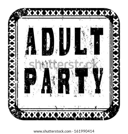Adult party xxx scratched stamp isolated on white - stock photo