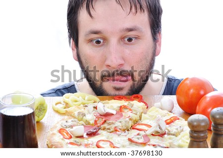 Adult person with surprised face on pizza table - stock photo