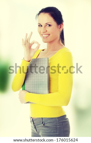 Adult student woman - gesturing perfect - stock photo