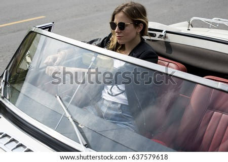 Adult Woman Driving a Car Road Trip