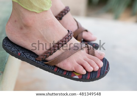 Flip Flops Bare Feet Stock Images Royalty Free Images