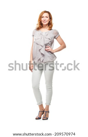 Adult woman full body standing on white background - stock photo