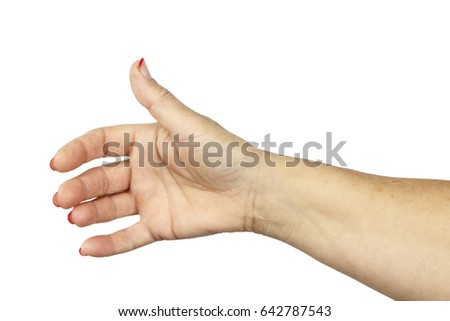 Adult woman hand isolated on white background.