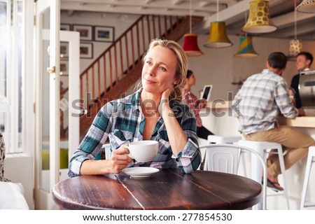 Adult woman in a cafe - stock photo