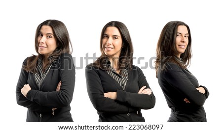 Adult woman with hers arms crossed over white background