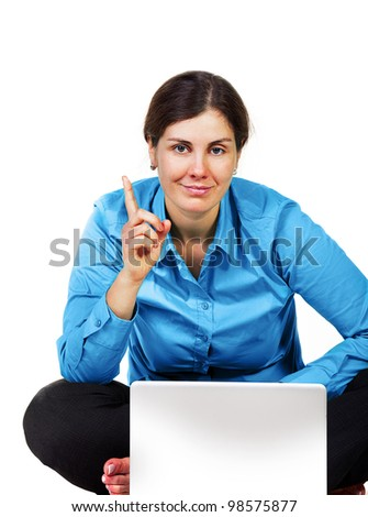Adult woman with laptop computer isolated on white