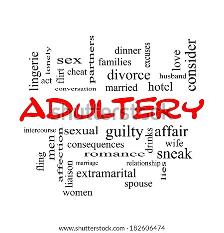 Adultery Word Cloud Concept in red caps with great terms such as sexual, affair, lies and more.