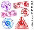 Adults only and X rated rubber stamps  - stock vector