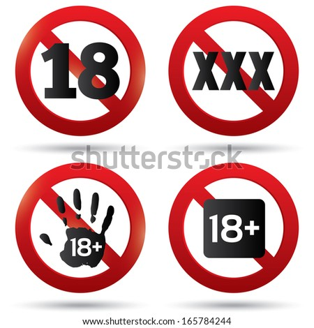 Adults only content button. XXX sticker. Age limit stop sign. XXX adults only content icon. 18 years old. Prohibition symbol. - stock photo