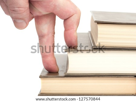 advance on a career ladder - stock photo