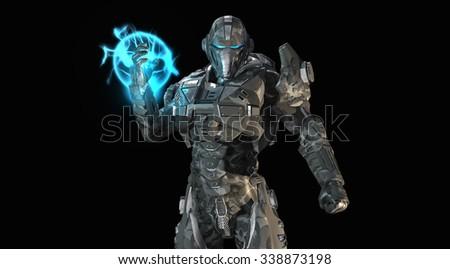 Advanced future soldier - stock photo