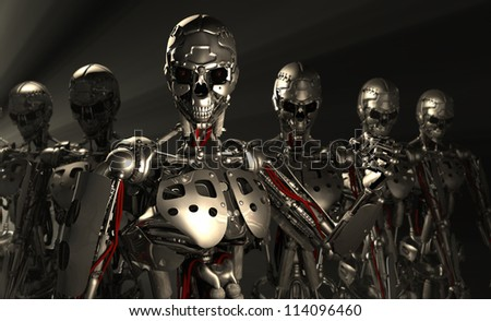 advanced robot soldiers - stock photo