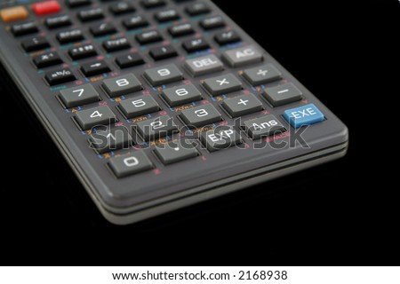 Advanced Scientific Calculator Isolated on Black Background - stock photo