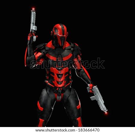 Advanced super soldier - stock photo