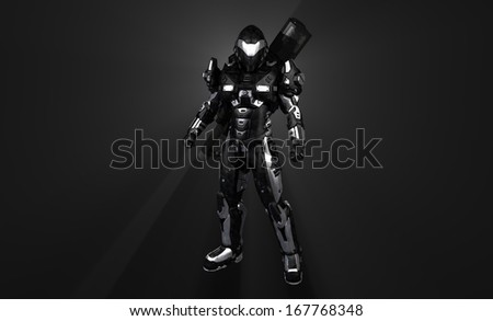 Advanced super soldier with gun - stock photo
