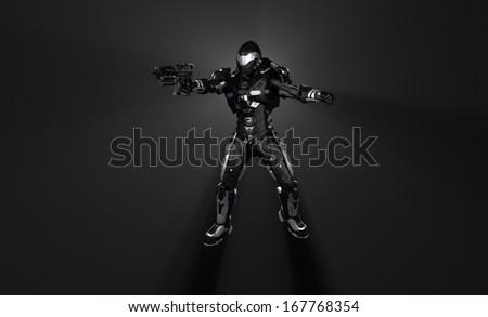 Advanced super soldier with gun - stock photo