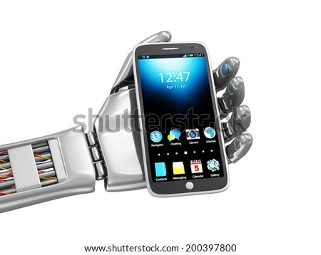 Advanced Technology Concept. Modern Smart Phone in Metal Robotic Hand isolated on white background
