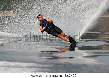 Advanced waterskiing on a mono-ski - stock photo
