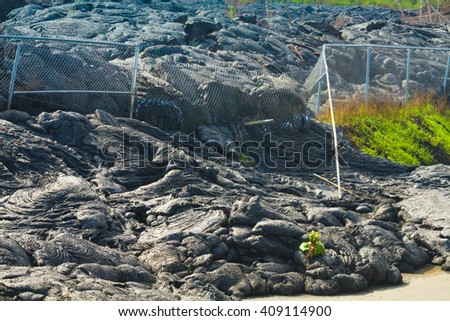 Advancing lava flow through the fence in the town of Pahoa, Big Island, Hawaii - stock photo