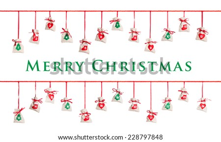 Advent calendar isolated on white background  - stock photo