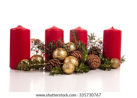 Advent candles on a white background