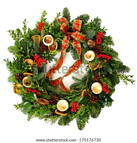 Advent wreath of myrtle and conifers, view from above - stock photo