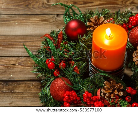 Advent Wreath With Candle On Wooden Table. Christmas Time.