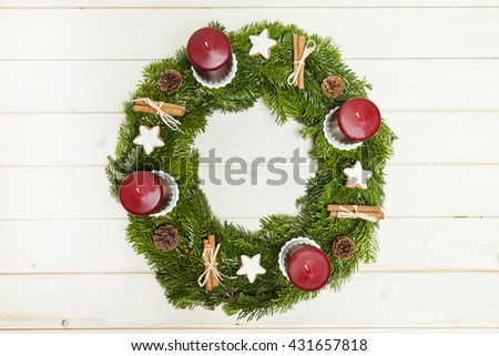 Advents wreath top view - stock photo